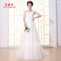 double-shoulder handmade beach wedding dress high waist maternity wedding dresses short trailing new 2014 sexy weddings
