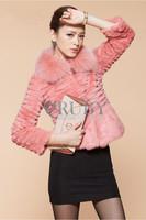 EMS Free Shipping 2013 Natural Rabbit Fur Coat Women Lady Real Raccoon Fur Collar Short Overcoat Genuine Rabbit Fur Jacket PC12