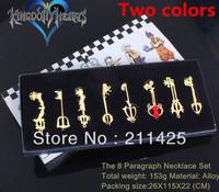 Wholesale New Hot 8pcs Kingdom Hearts SET KEY BLADE Sora Keyblade Pendant Necklace Set New  Freeshipping as gift