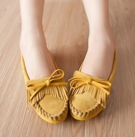 Autumn new arrival bow tassel gommini loafers flat round toe shoes