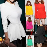 Korea Womens Puff Sleeve Fitted Peplum Blouse Tops T-shirt Shirts For Wholesale & Retail