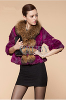 EMS Free Shipping 2013 Natural Rabbit Fur Coat Women Lady Real Raccoon Fur Collar Overcoat Genuine Rabbit Fur Pocket Jacket PC14