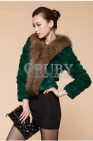 EMS Free Shipping 2013 Natural Rabbit Fur Coat Women Lady Real Raccoon Fur Collar Overcoat Genuine Rabbit Fur Pocket Jacket PC13