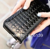 2013 Brand new hot selling high quality lady pu leather skull punk wallets women's soft long purse cheap wholesale free shipping