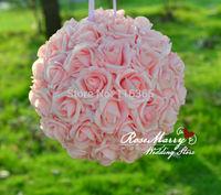 15'' 38cm Foam Kissing Rose Flower Ball Artificial Decorative Flowers Wedding Centerpiece Foam Pink Flower Ball Free Shipping