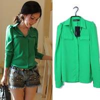 Hot Sale Fashion Wild Womens Elegant Casual Blouse Turndown Collar Long Sleeve Chiffon Shirt Top 2 Color Drop Shipping 3719