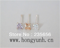 body piercing jewelry 1/pc 925 silver nose rings & studs square  AAA zircon free shipping B0223