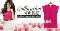 2014 New Chiffon Bright Color Shirt Top Blouse Loose Plus Size Simple Minimalist Western Style Casual blusas femininas XL