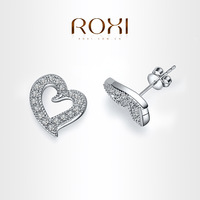 ROXI  Exquisite Peach heart Earrings platinum plated with CZ diamonds fashion Environmental Micro-Inserted Jewelry,104008372