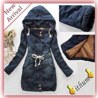 New 2013 Women's winter denim Thick cotton-padded jacket outerwear coat winter plus size parka women's outdoor overcoat