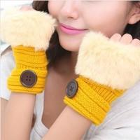 Korean  Winter Short Section Mitts Cute Buttons Half-finger Gloves Nine Colors For Choose