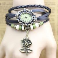 7 colors vintage leather bracelet watch rose flower women rhinestone watch leather wristwatches 1pcs/lot