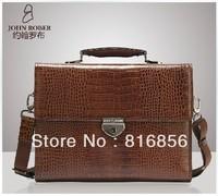 High quanlity vintage Crocodile Leather Men bag briefcase handbag men's bussiness bag shoulder bag lock laptop bag free ship