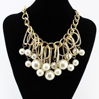 2014 New Fashion Statement Necklaces For Women Big Imitation Pearl  Pendant Jewelry Ladies Christmas Gift