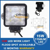 Free shipping 4PCS 12V&24V 15W led work light,Off-road Tractor LED Light Super bright 15W LED Work Flood/Sopt beam vf