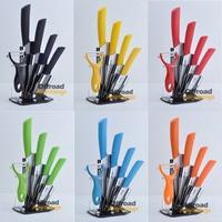 "28% Off 3"" 4"" 5"" 6"" inch Black Red Green Blue Orange Yellow Fruit Kitchen Ceramic Knife Sets + Peeler + Acrylic Block Holder"