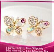 B196 multicolor pearl butterfly Imitation diamond Women stud earrings Crystal jewelry