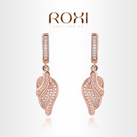 ROXI  Exquisite wings Earrings rose gold plated with CZ diamonds,fashion Environmental Micro-Inserted Jewelry,1020361050