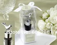 Free shipping SG/MY 100pcs/lot   love birds chrome wine bottle stopper wedding decoration party