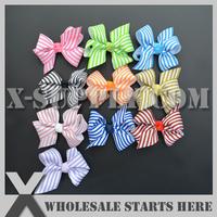 "Free Shipping 3"" Streak Ribbon Bow Knot Applique for Baby Headband/10 colors mixed"