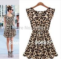 2014 Hot Summer Dress Fashion Sexy Leopard Print Casual Sleeveless Thin Women One Piece Dress + Free Shipping