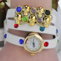 Hot Sale! Punk Style Sparkling Rhinestone Skeleton Leather Quartz Watches / Plant Direct selling