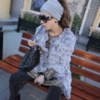 2014 new winter women Medium-long fur rabbit fur overcoat o-neck fur coat three quarter sleeve outerwear Y2P5