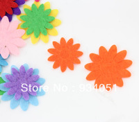 Free Shipping 500pcs/lot Colorful Flower Felt Patches Daisy Felt Appliques  Accessory for Garment, Headwear Decor