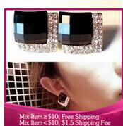 B213 new 2014 goth Fashion jewelry party  black Stud Earrings Imitation diamond women