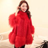 2014 new winter women beach wool fur full leather rabbit fur long design women's overcoat cloak plus size Y2P1