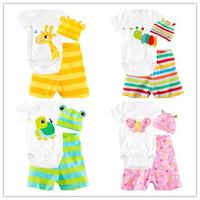 New 2014 baby set cotton children baby boys girls clothes 3 pcs(Long-sleeved Romper+hat+pants)children clothing set