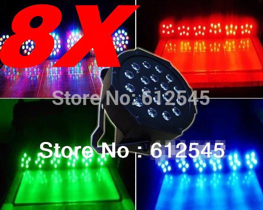 8Pcs free shipping18X3W LED RGB Mini Par Light 54W Slim Par Can LED Flat Par64 DMX Stage Lighting led flat par light Panel leds(China (Mainland))