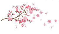 Free Shipping Small Sakura Flower Bedroom Pink Flower Cherry Tree Wall StickerFlower Tree Abstract Flower Wall Sticker Decal 739