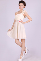bridesmaid above knee Mini dress Ruched pleated One shoulder party champagne dress size 4 6 8 10 12
