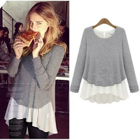 [s1293]Autumn new European and American wind easing off two loose stitching render modal fashion long-sleeved dress T-shirt