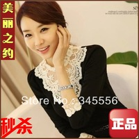 fashion blouses 2013 autumn all-match long-sleeve chiffon top women t-shirt lace basic shirt