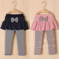 2014 baby girls pants children cotton thickening pants stripe dot skirt legging faux two piece princess skirt pants