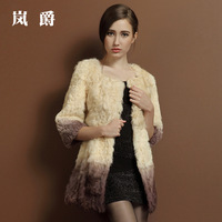 2013 berber fleece winter fur coat female o-neck medium-long three quarter sleeve lj6000
