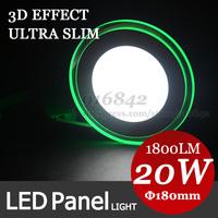 3D effect Green Round Edge High power Led panel Light 20W AC100-265V White/Warm White led ceiling fllat led panel
