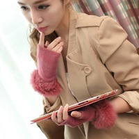 New 2013 Femalw Short Yarn Knit Mittens Luvas Fashion Winter Wool Thermal Fingerless Fur Gloves For Women