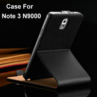 Genuine Leather Wallet Stand Case for Samsung Galaxy Note 3 III N9000 Luxury Book With Card Holder Black, Free Screen Protector