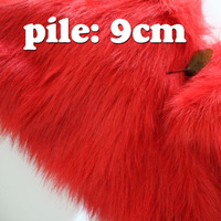 "Red SOLID SHAGGY FAUX FUR FABRIC (LONG PILE FUR), costums, cosplay cloth, 36""X60"" SOLD BY THE YARD, FREE SHIPPING"