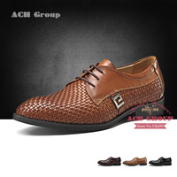 Free shipping men's casual flats oxfords business suit lacing woven shoes footwear genuine learther cowskin dress shoes