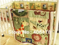3pcs Baby Crib Sets cotton jungle animals cartoon baby bedding sets natural and lovely design