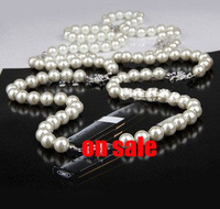 New Fashion double c full rhinestone pearl long design necklace double layer lanyards fashion sweater necklace chain