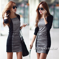 2015 Fashion Women Clothing Long Sleeve Contrast Bodycon Stretch Party Club Ruched Casual Dress Novelty Mini Free Shipping 1118