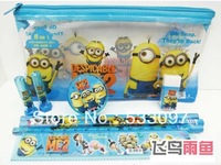 Despicable Me minion Student of cartoon stationery bag (zipper pen bag wooden pencil two cardboard ruler notebook pencil eraser)
