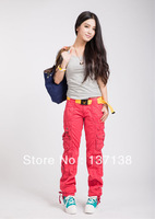 Hot New 2013 Women Korean Fashion Straight Type Washed Bib Overalls Mid waist Cotton Multi-pocket Trousers Outdoor Cargo Pants