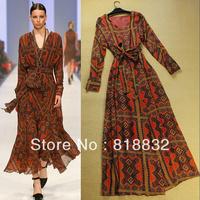 Free Shipping New Elegant 2013 High Quality Vintage Printed Slim Waist Floor Length Dress Women Fashion Runway  Dresses