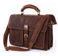 Crazy horse leather man bag first layer of cowhide briefcase fashion vintage genuine leather male handbag shoulder bag messenger